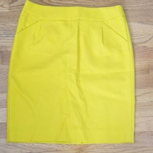 NWT! J.Crew Size 10 Yellow Cotton Pencil Skirt